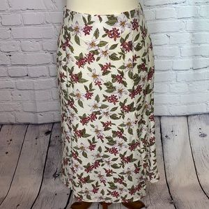 IVORY TROPICAL FLORAL SKIRT